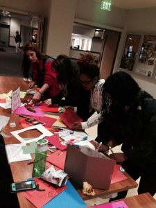 Students preparing Halloween cards for Pickersgill residents.